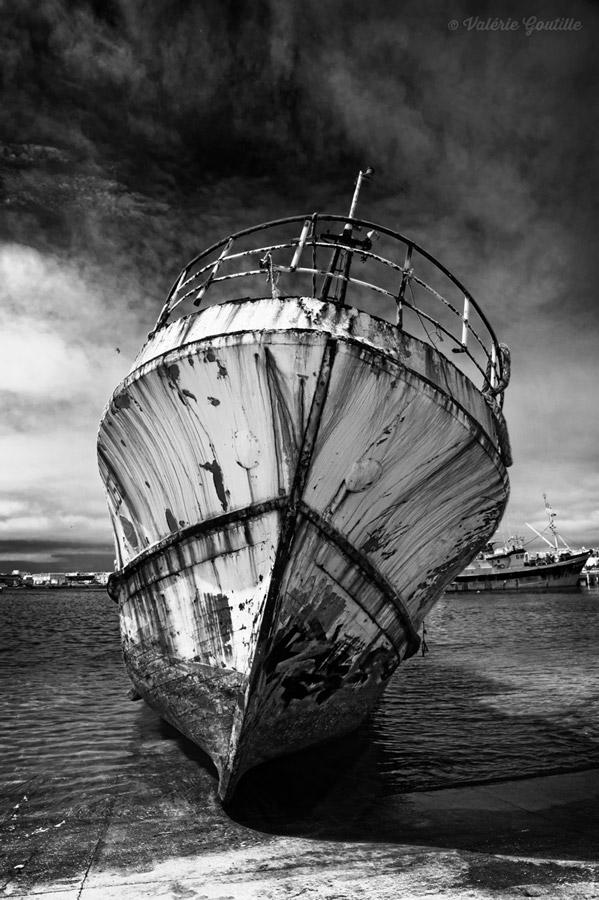 Epave de bateau photo N&B