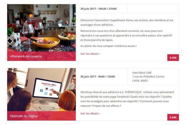 Vue mensuelle des évènements wordpress